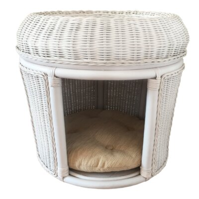 Pets Rattan Wicker House Hooded Dog Bed Color: White