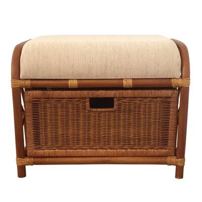 Jerry Rattan Wicker Storage Ottoman Finish: Light Brown