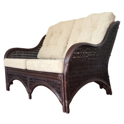 Karmen Rattan Wicker Loveseat Finish: Dark Brown