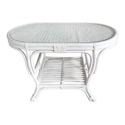 Alisa Rattan Coffee Table with Magazine Rack Color: White