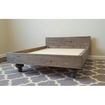 My Best Friends Custom Solid Wood Pet Bed Size: Large (47 L x 35 W), Color: Red Mahogany, Design: Paw Print