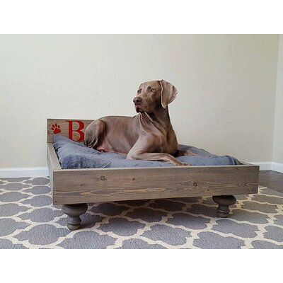 My Best Friends Custom Solid Wood Pet Bed Size: Large (47 L x 35 W), Color: Red Mahogany, Design: Dog Bone