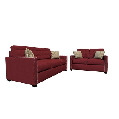 Laguna Sofa and Loveseat Set Upholstery Color: Red Wine