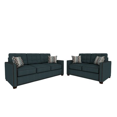 Bakerstown Sofa and Loveseat Set Upholstery: Navy