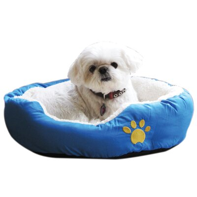 Evelots Small Round Soft Pet Bed Bolster Color: Blue