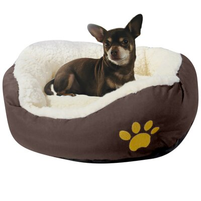 Evelots Small Round Soft Pet Bed Bolster Color: Brown