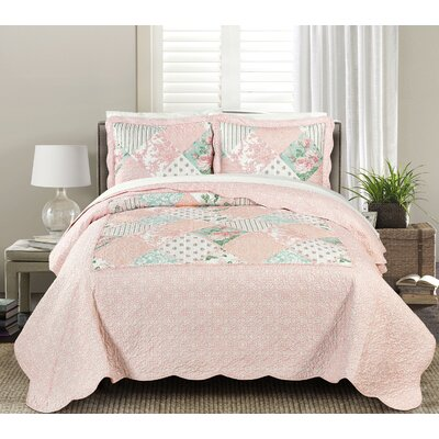 James Quilt Set Size: King, Color: Pink