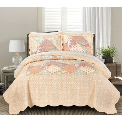 James Quilt Set Size: King, Color: Orange