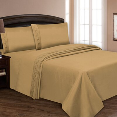 Embroidered Sheet Set Color: Gold, Size: Queen