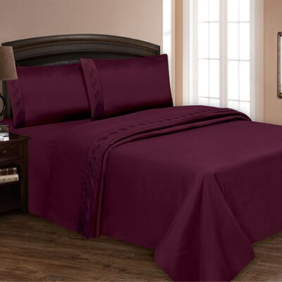 Embroidered Sheet Set Color: Plum, Size: Queen