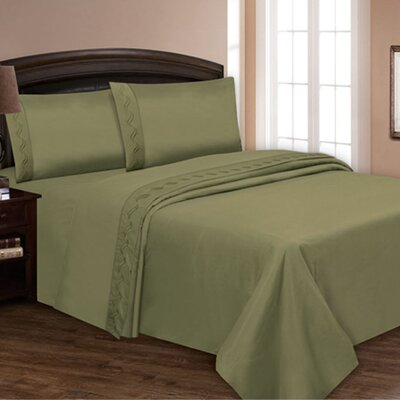 Embroidered Sheet Set Color: Sage, Size: Queen