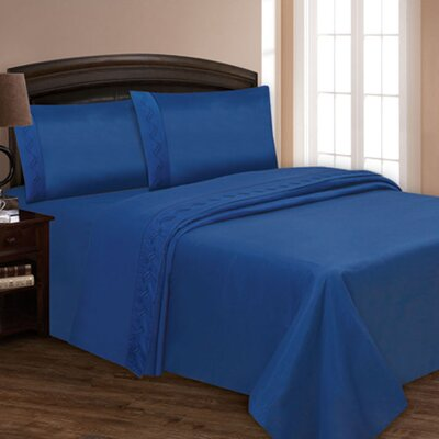 Embroidered Sheet Set Color: Blue, Size: Full XL