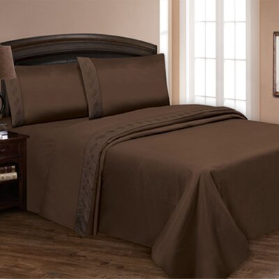 Embroidered Sheet Set Color: Chocolate, Size: Queen