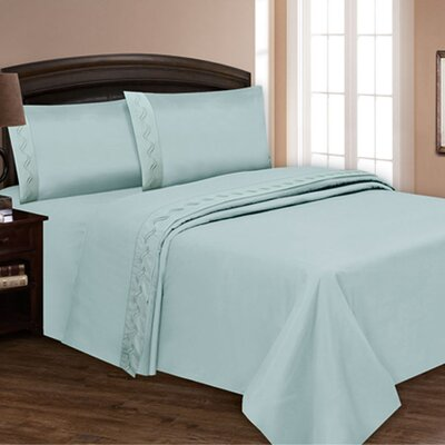 Embroidered Sheet Set Color: Baby Blue, Size: King