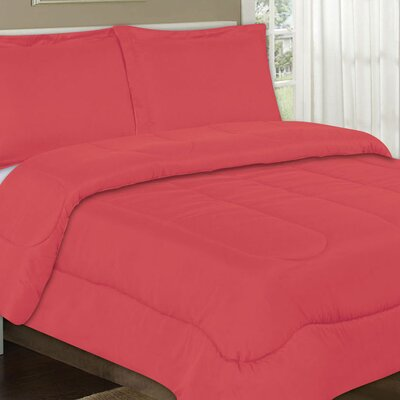 All Season Comforter Color: Coral, Size: Full / Queen