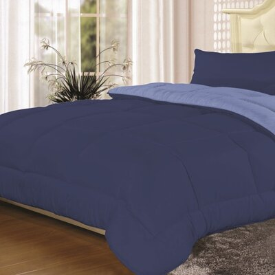 Heavyweight Down Alternative Comforter Color: Navy/Light Blue