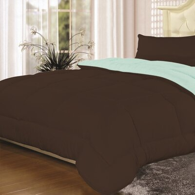 Heavyweight Down Alternative Comforter Color: Chocolate/Aqua