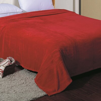 Flannel Throw Blanket Color: Burgundy, Size: Twin