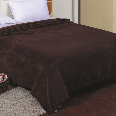 Flannel Throw Blanket Color: Chocolate, Size: Twin