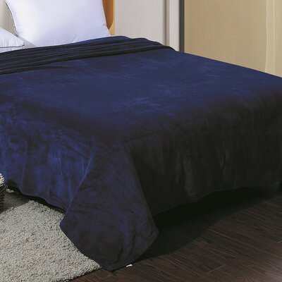 Flannel Throw Blanket Color: Navy, Size: King