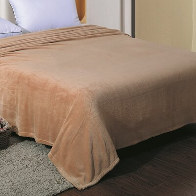 Flannel Throw Blanket Color: Beige, Size: Twin