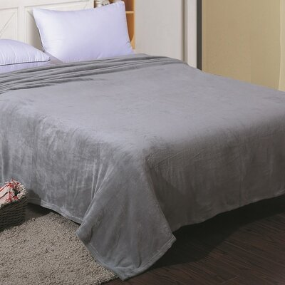 Flannel Throw Blanket Color: Silver, Size: Twin