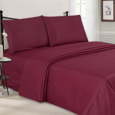 Embossed Sheet Set Color: Burgundy, Size: Queen