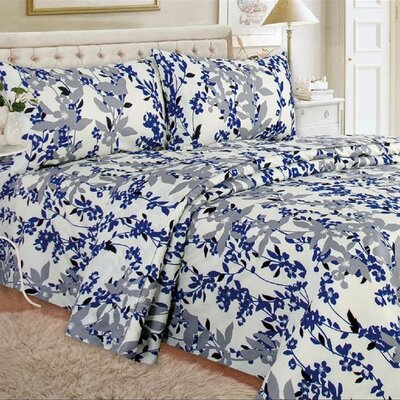 Quest Home Printed Sheet Set Color: Blue, Size: Twin