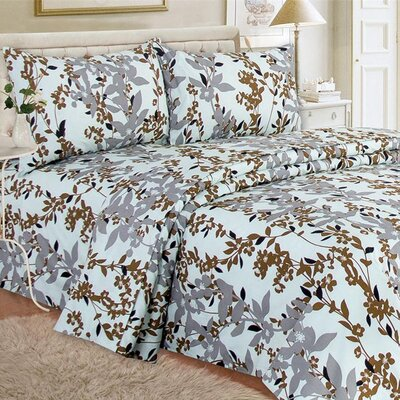 Quest Home Printed Sheet Set Color: Carmel, Size: Queen