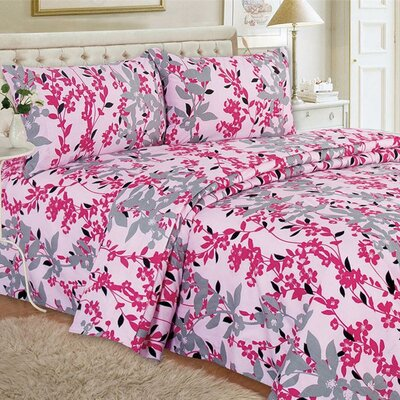 Quest Home Printed Sheet Set Color: Pink, Size: Queen