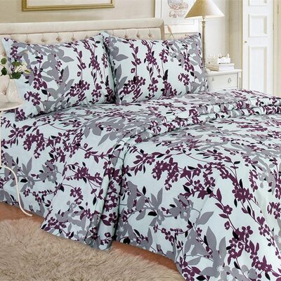 Quest Home Printed Sheet Set Color: Plum, Size: Twin