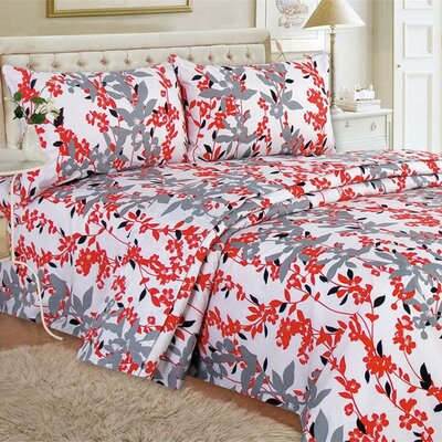 Quest Home Printed Sheet Set Color: Red, Size: Queen