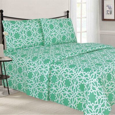 Quest Home Printed Sheet Set Color: Aqua, Size: Twin