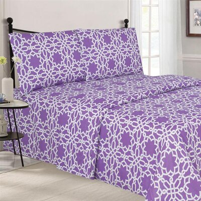 Quest Home Printed Sheet Set Color: Lilac, Size: Queen