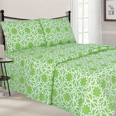 Quest Home Printed Sheet Set Color: Mint, Size: Twin
