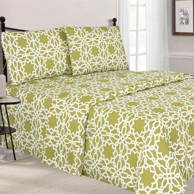 Quest Home Printed Sheet Set Color: Sand, Size: Twin