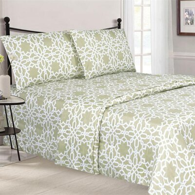 Quest Home Printed Sheet Set Color: Taupe, Size: Twin