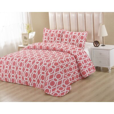 Peach 2 Piece Twin Quilt Set