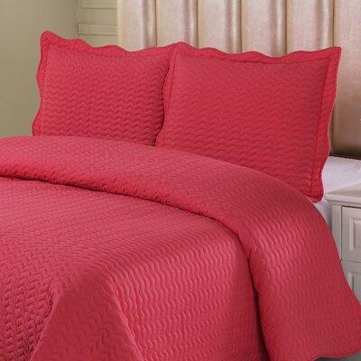 Reversible Quilt Set Color: Coral