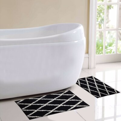 St. Tropes 2 Piece Bath Rug Set Color: Black