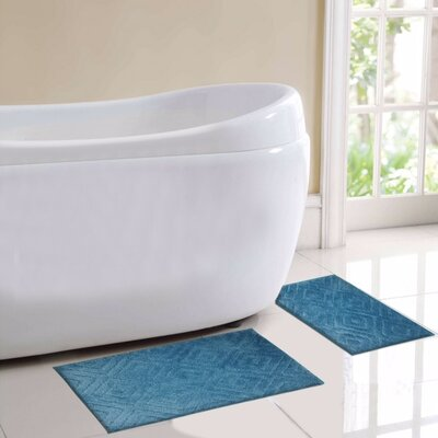 Milan 2 Piece Bath Rug Set Color: Blue