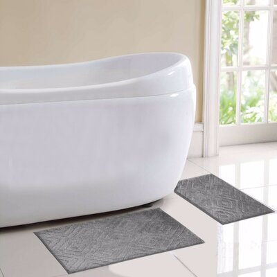 Milan 2 Piece Bath Rug Set Color: Gray