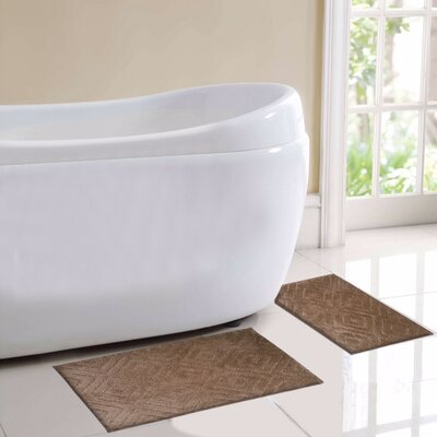 Milan 2 Piece Bath Rug Set Color: Brown