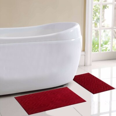 Milan 2 Piece Bath Rug Set Color: Red