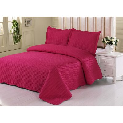 Beals Quilt Set Color: Hot Pink, Size: Full/Queen