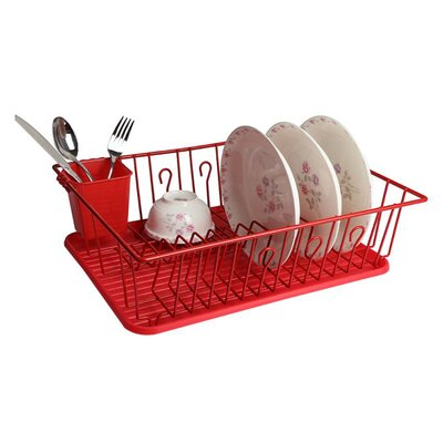 Single Level Dish Rack Finish: Red