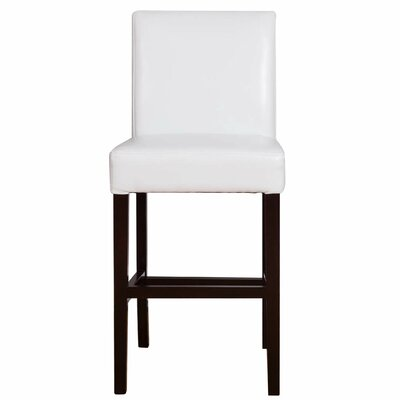 Microfiber Bar Stool with Cushion Upholstery Type - Color: Bonded Leather - White