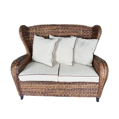 Averi Indoor/Outdoor Rattan Slope Wingback Loveseat with Cushions