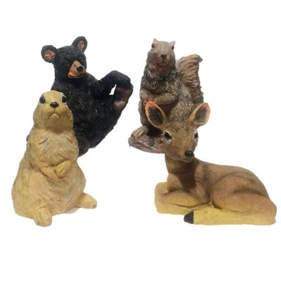 Call of The Wild Animal Critter Bear Squirrel Bunny Deer 4 Piece Assortment Statue Set 89607