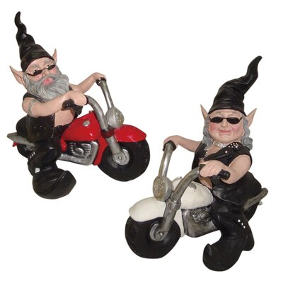 "Nowaday Gnomes Born-to-Ride 2 Piece ""Biker & Babe the Gnomes"" in Full Leather Motorcycle Gear Riding Red and White Bikes 32070"